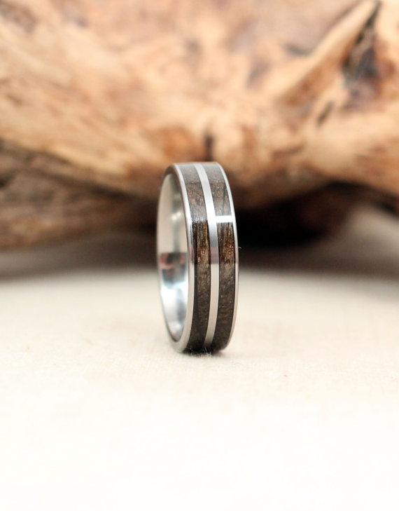 Sinker Red Oak Double Channel Titanium Ring