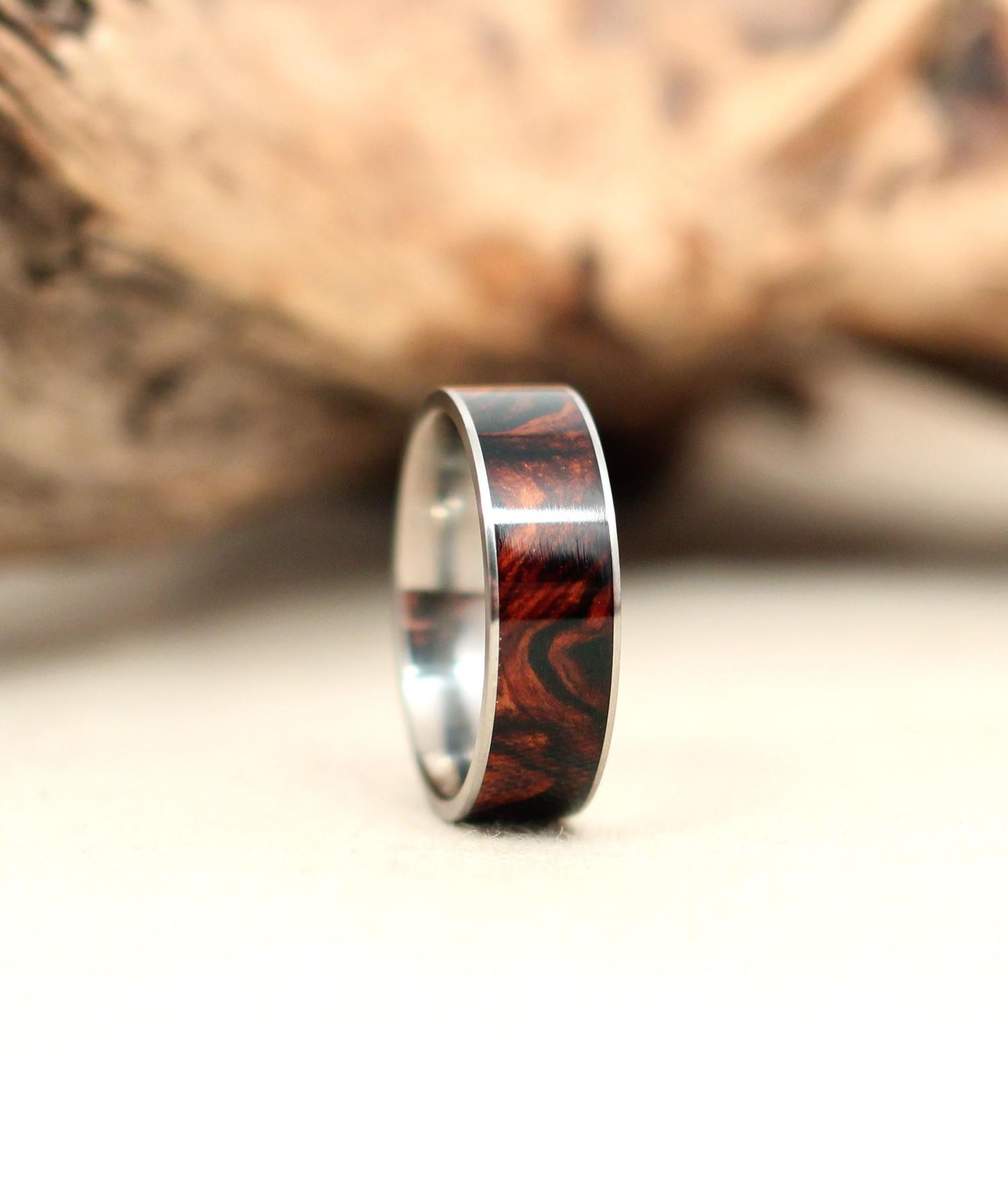 Cocobolo Burl and Titanium Ring