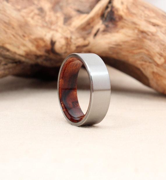 Titanium Ring with Arizona Desert Ironwood Burl Wood Ring