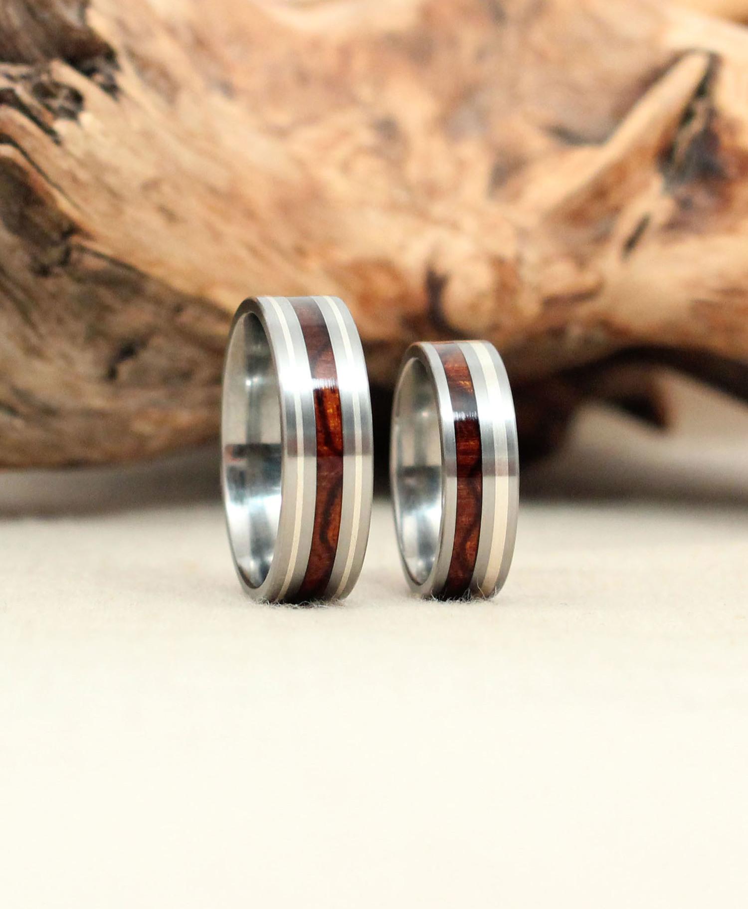 Arizona Desert Ironwood Burl with Silver Stripes Titanium Rings