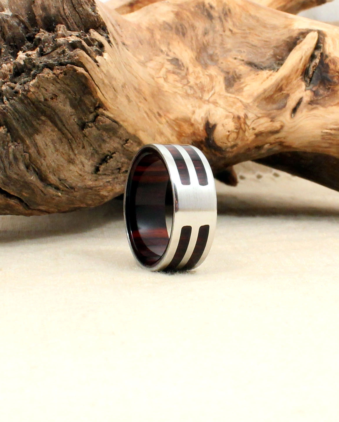 Kingwood Rosewood and Cobalt Wooden Ring