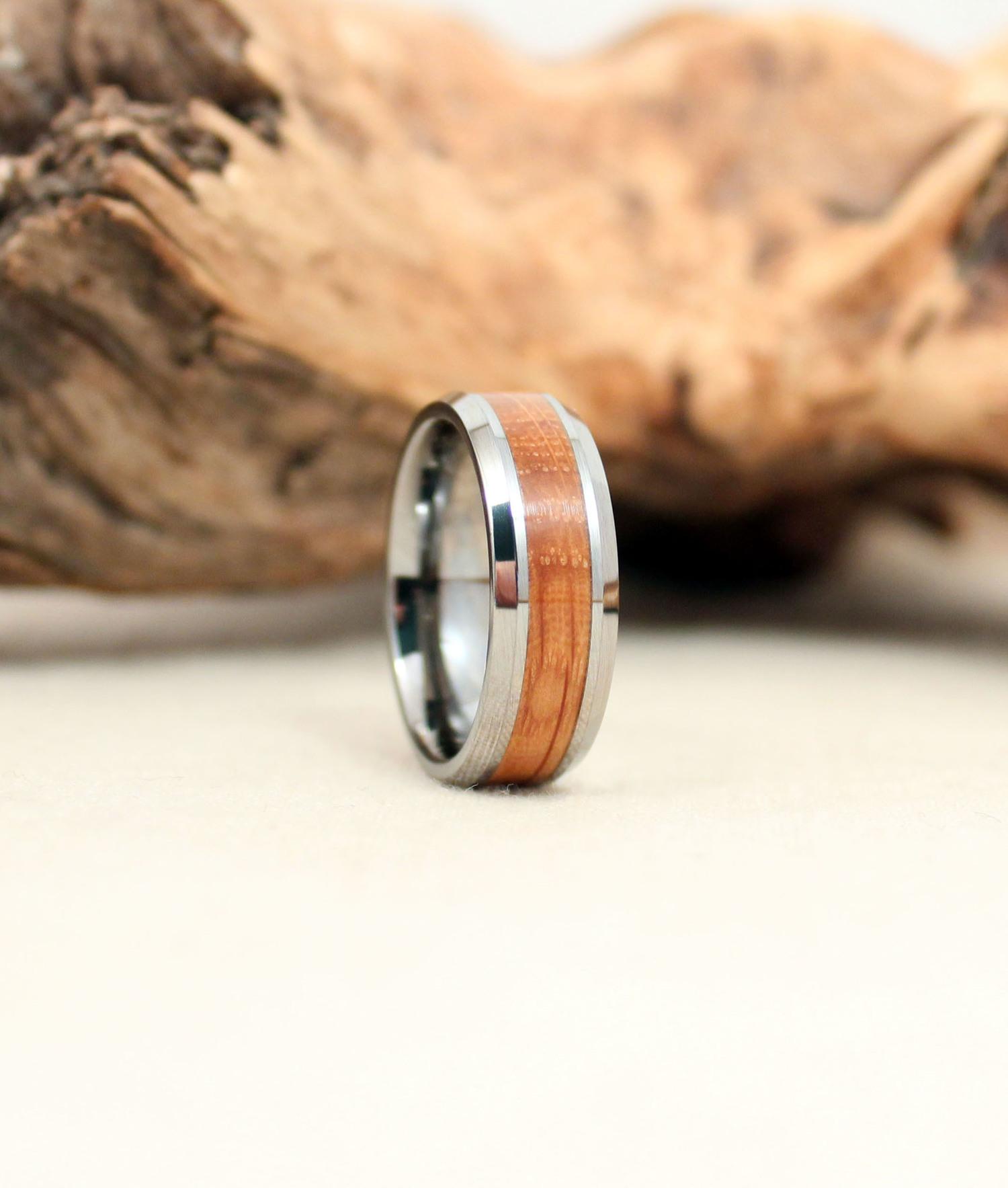 Tungsten Carbide with Bourbon Barrel Stave White Oak Wooden Ring