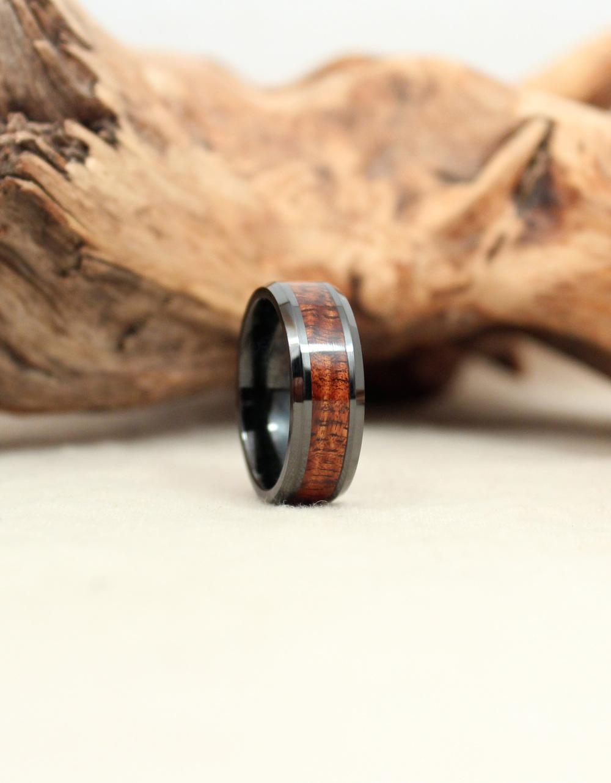 Black Ceramic Ring with Exhibition Grade Hawaiian Koa