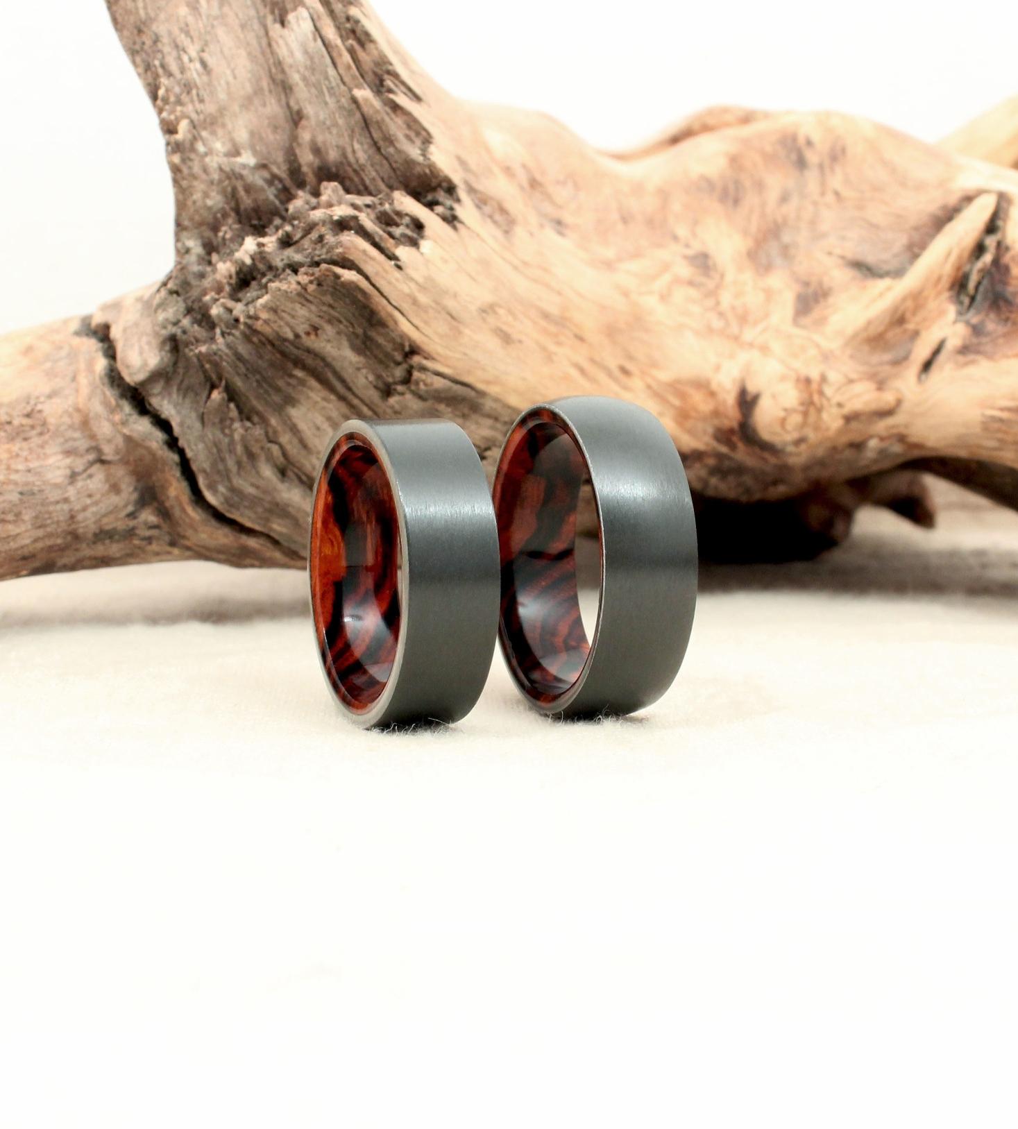 Black Zirconium and Arizona Desert Ironwood Burl Wooden Rings