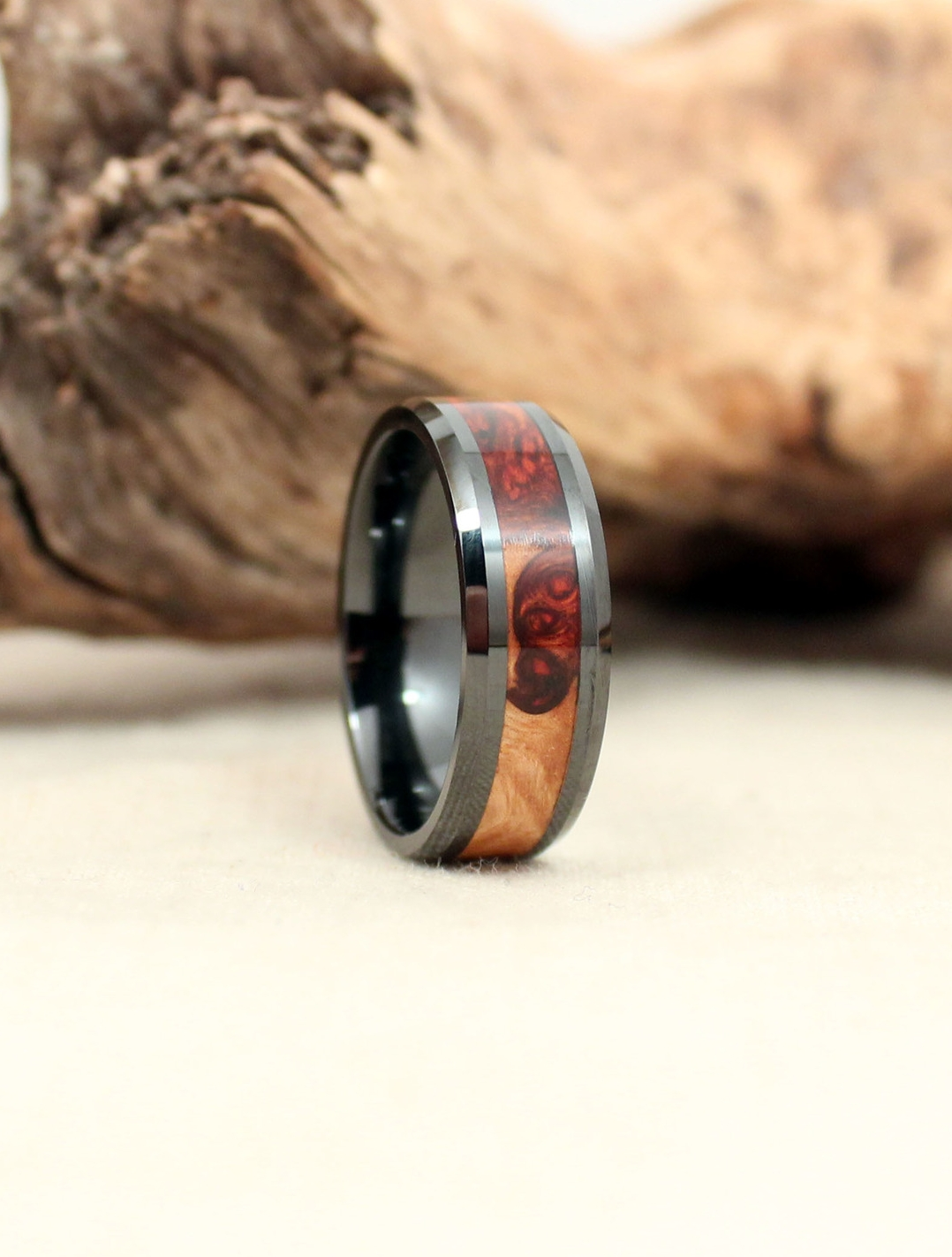 Exhibition Grade Amboyna Burl (Heartwood/Sapwood) and Black Ceramic Wooden Ring