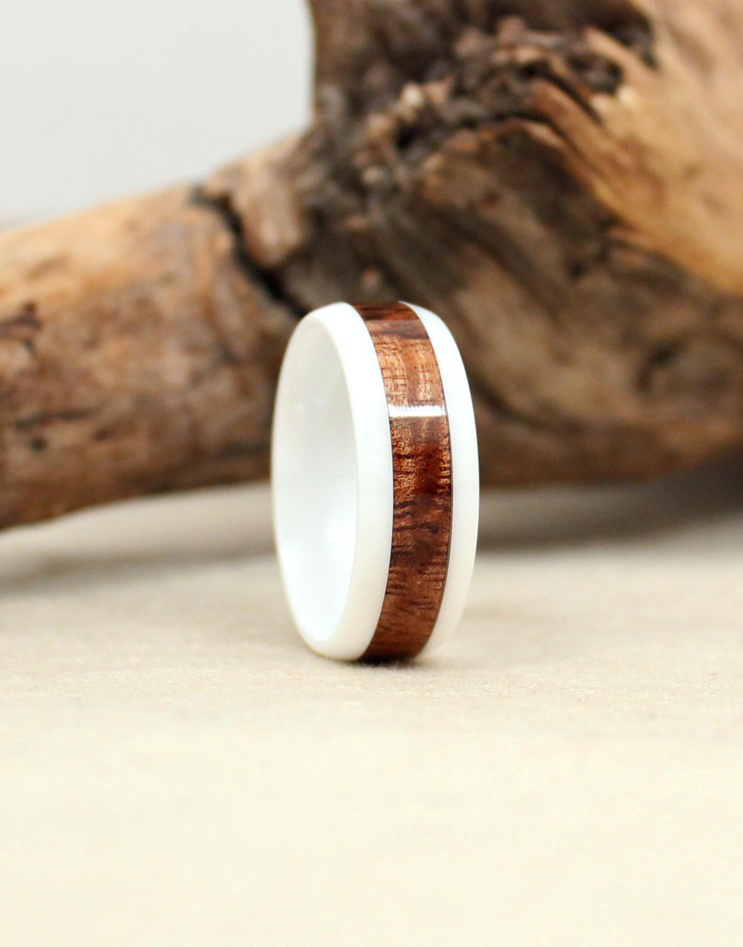 Exhibition Curly Hawaiian Koa and White Ceramic Wood Ring