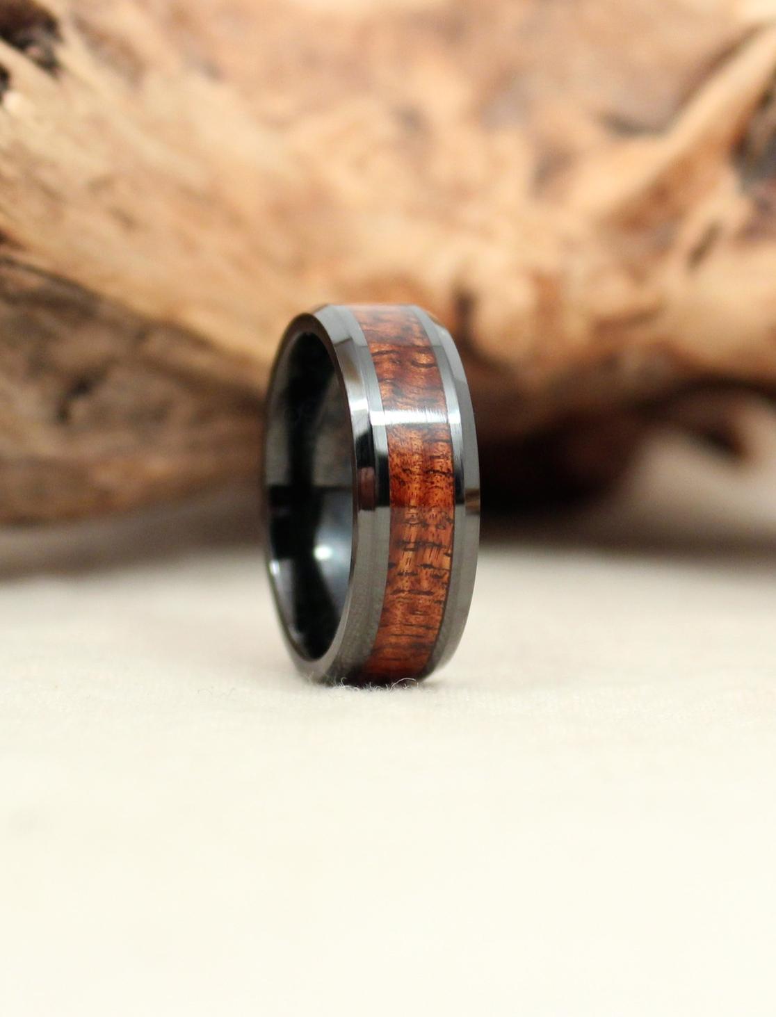 Exhibition Grade Hawaiian Koa and Black Ceramic Wooden Ring