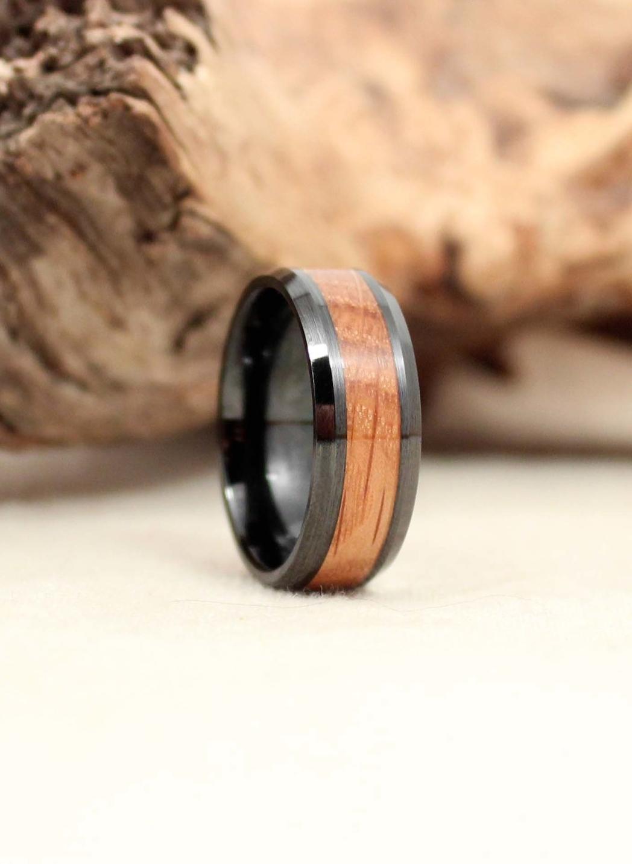 Bourbon Barrel Stave Oak and Black Ceramic Wooden Ring