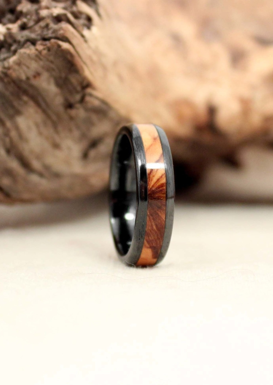 Bethlehem Olivewood and Black Ceramic Wooden Ring