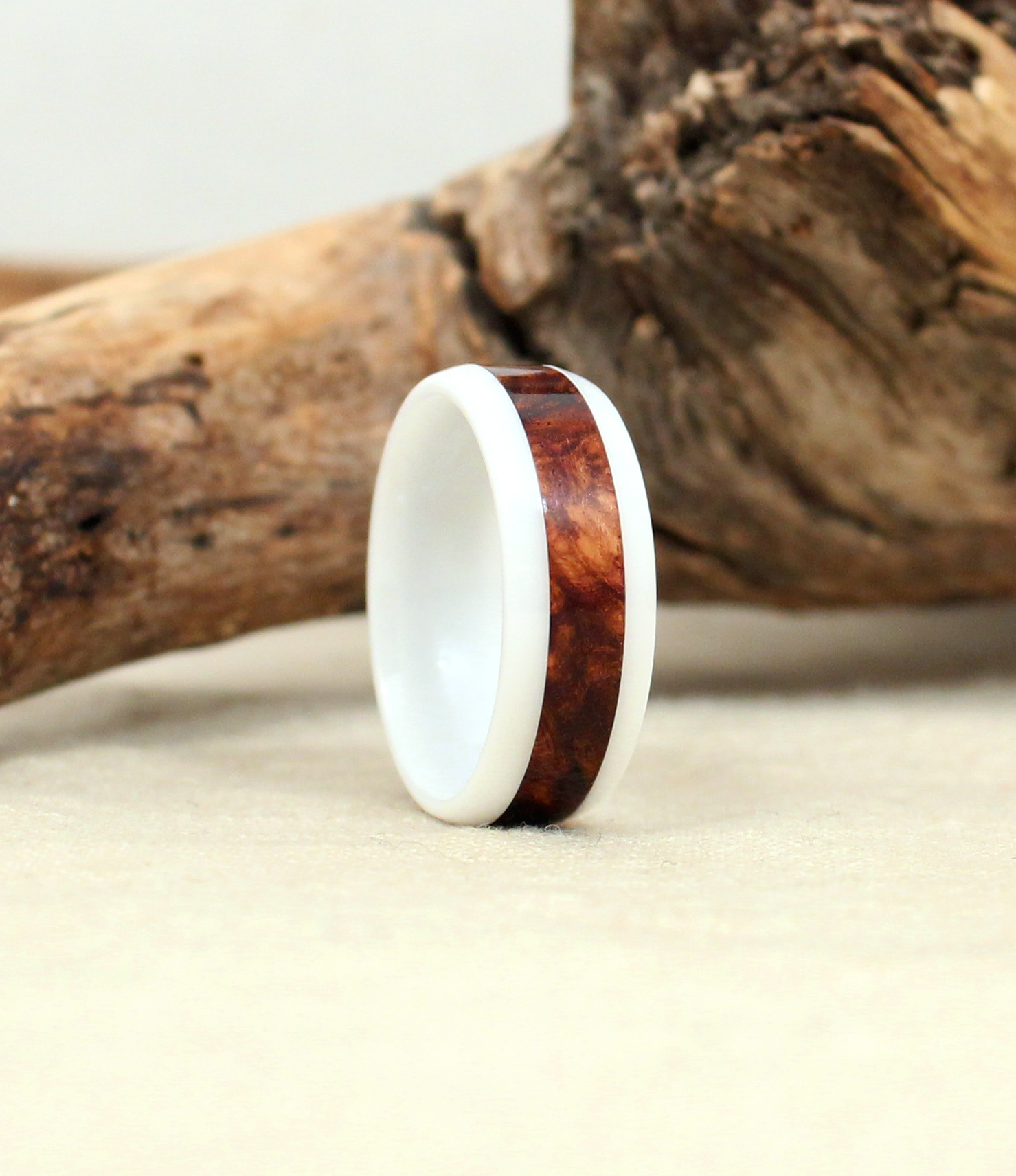 Exhibition Honduras Rosewood Burl and White Ceramic Wood Ring