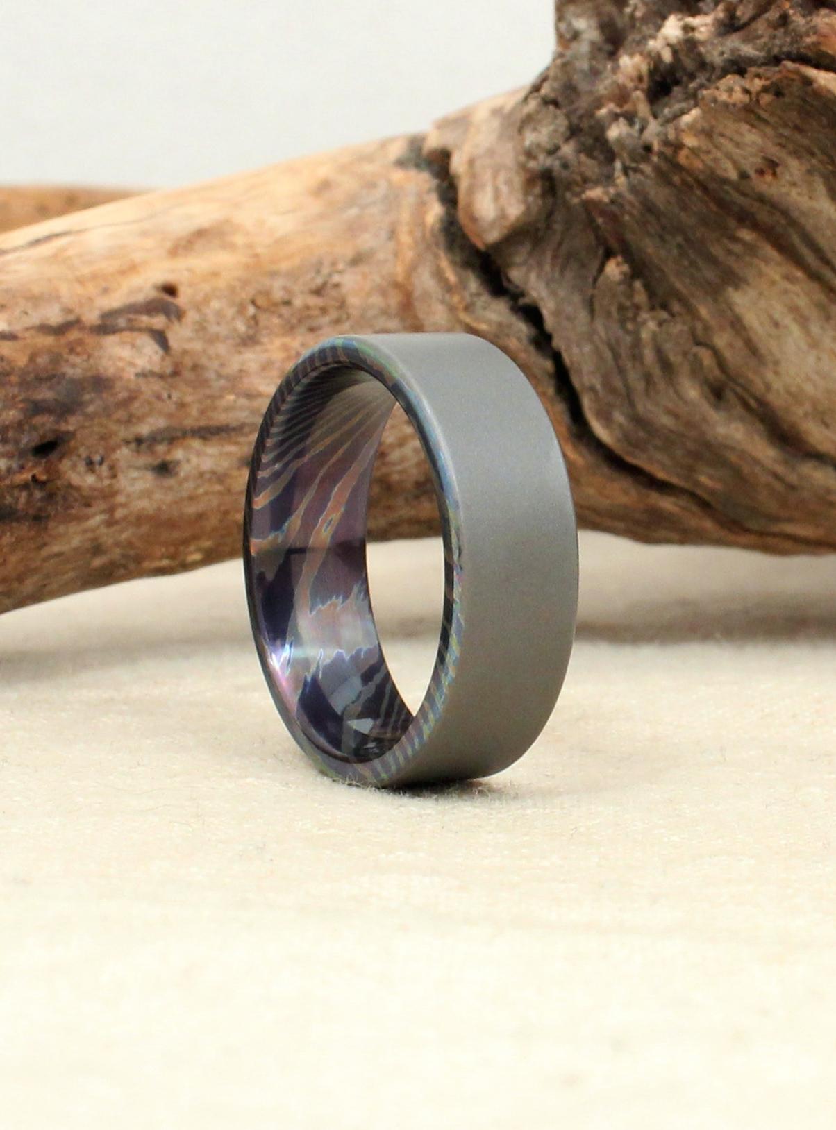Damascus Titanium Mokume Ti Ring