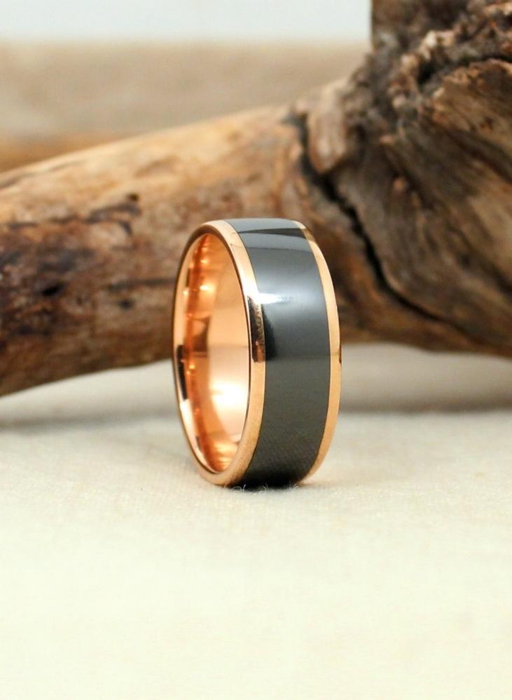Rose Gold and Black Zirconium Ring