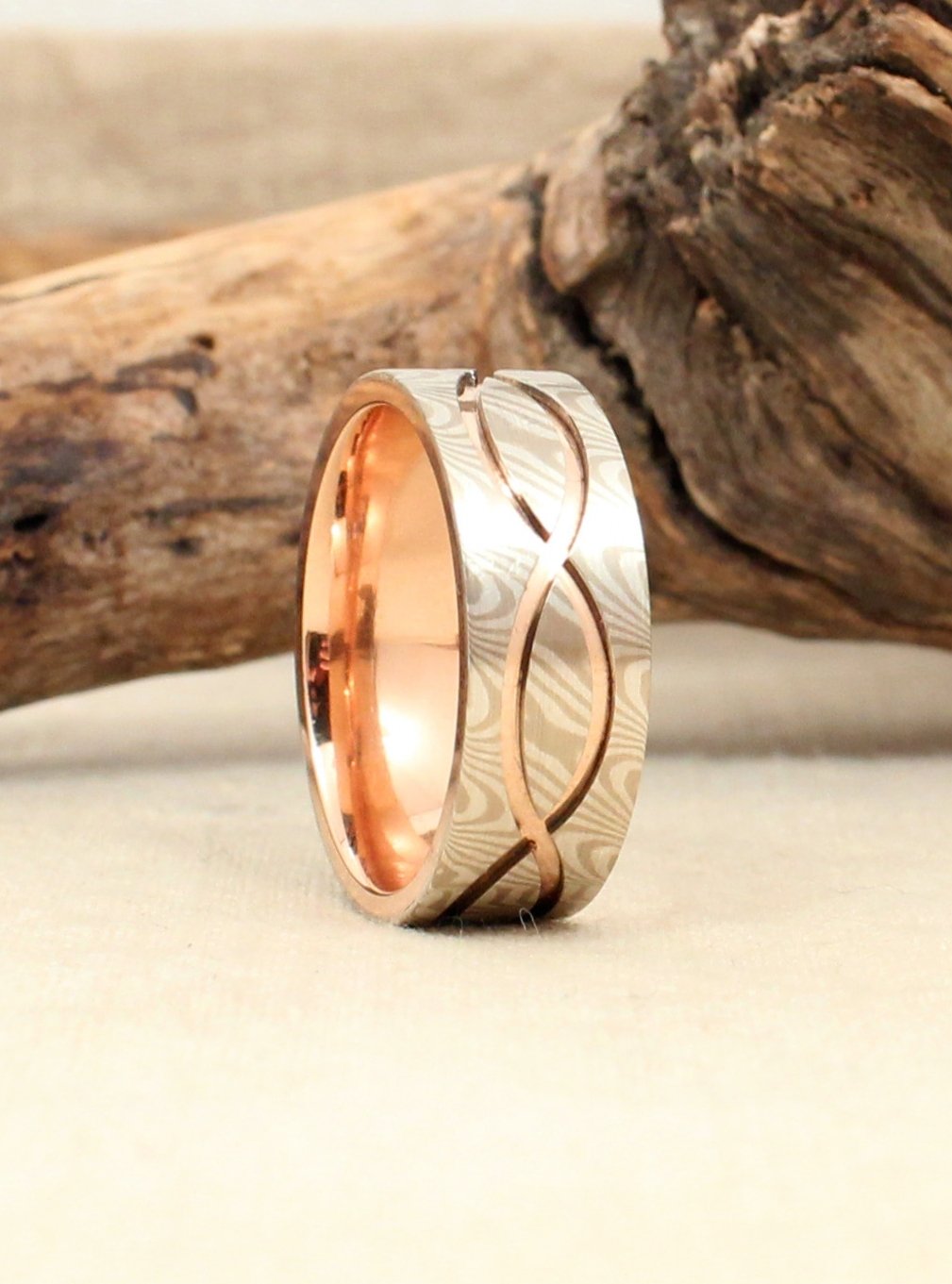 White Gold and Sterling Silver Mokume Gane with Rose Gold Core Ring