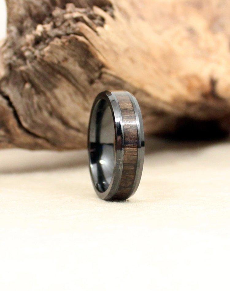 Black Ceramic Ring with Ancient Russian Bog Oak