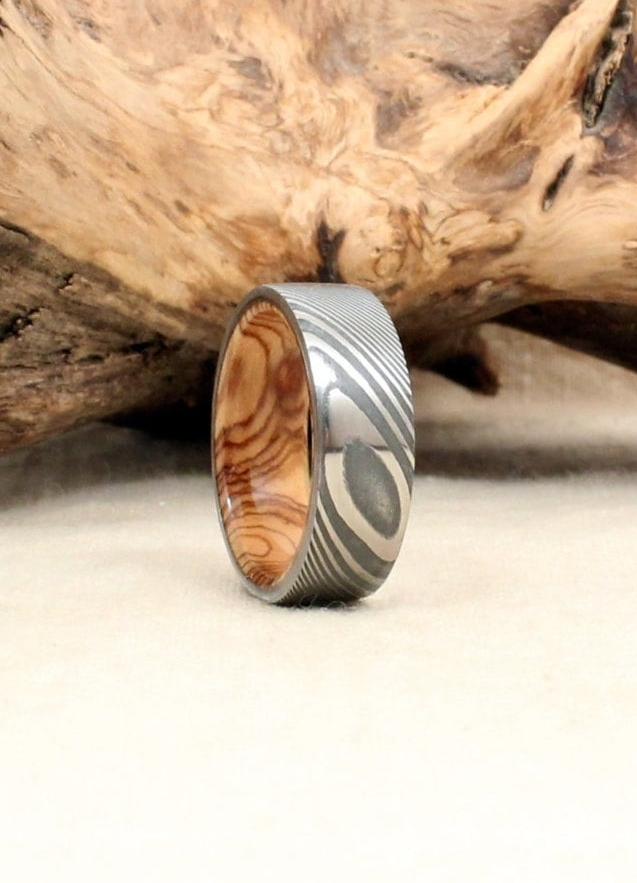 Hand-wrought Twisted Damascus Steel and Bethlehem Olivewood Wooden Ring