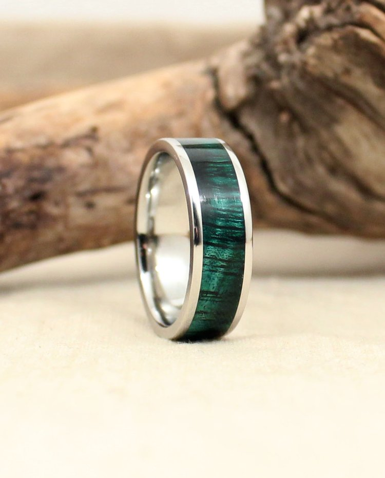 Stabilized Green Koa and Cobalt Wooden Ring