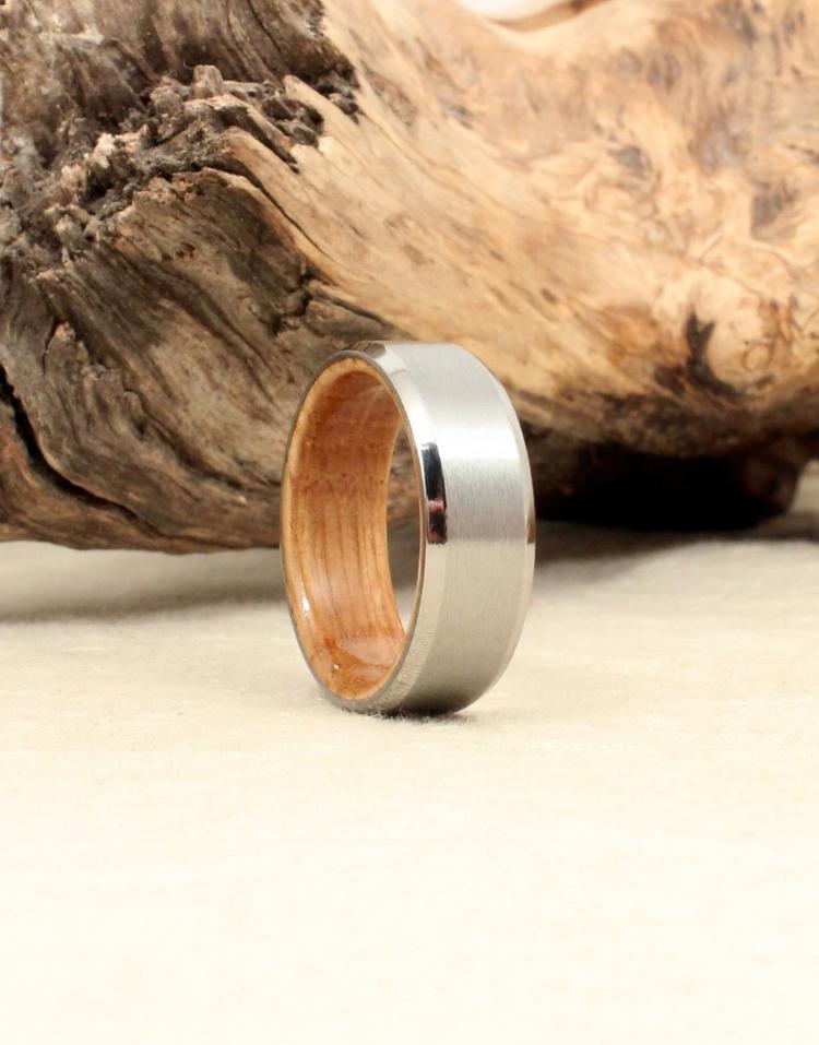 Beveled Cobalt and Whiskey Barrel White Oak Wood Ring