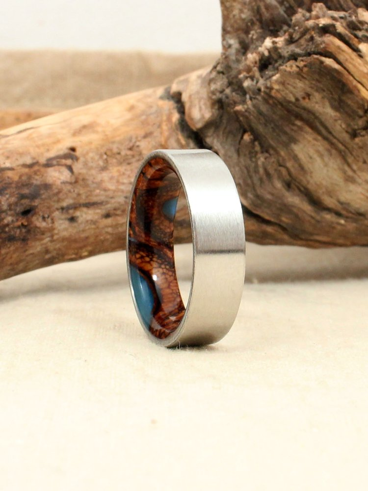 Cobalt and Light Blue Stabilized Banksia Pod Ring