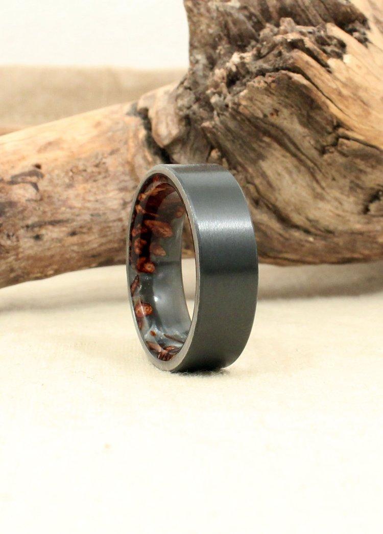 Black Zirconium and Gray Stabilized Banksia Pod Ring