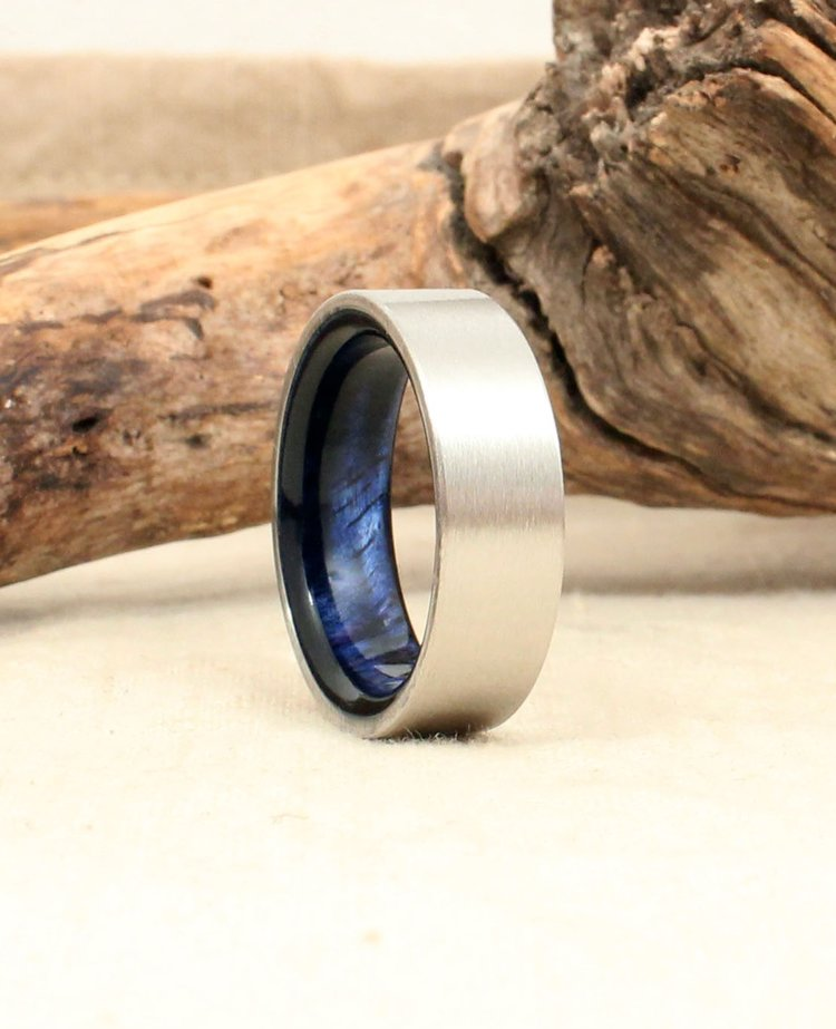 Cobalt Wood Ring Lined with Hawaiian Curly Koa Stabilized Blue