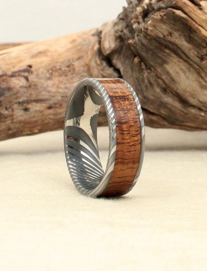 Koa and Damascus Steel Wood Ring