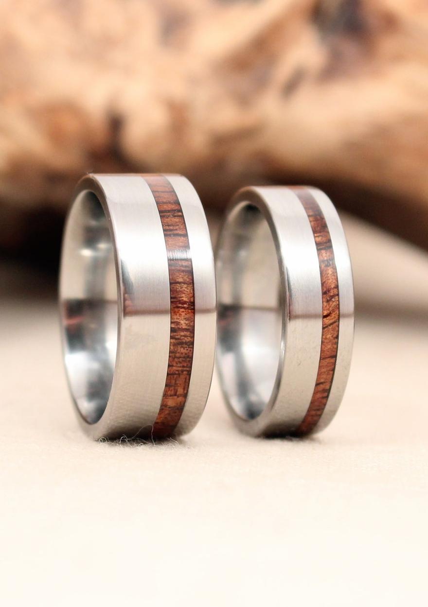 Titanium and Koa Offset Wooden Rings