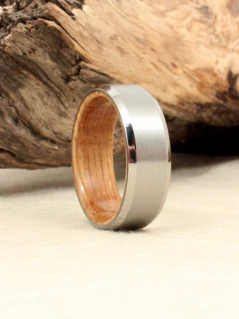 Beveled Cobalt Lined with Whiskey Barrel White Oak Ring