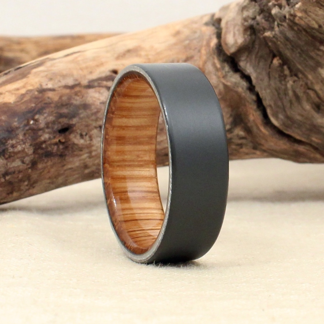 Sandblasted Black Zirconium and Balvenie Scotch Cask Ring