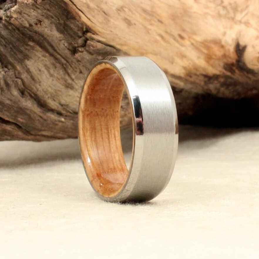 Beveled Cobalt and Whiskey Barrel Oak Ring