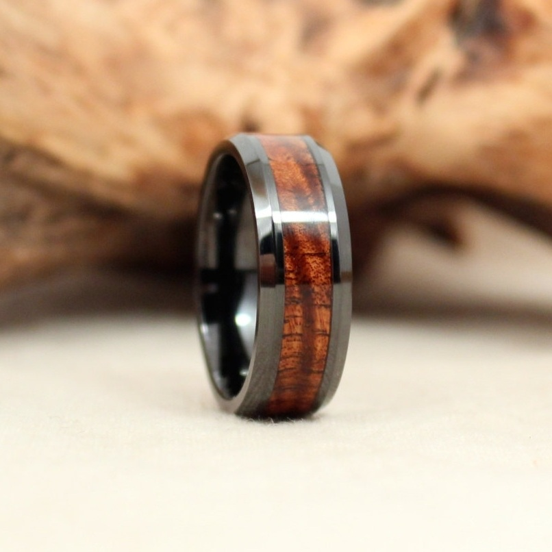 Beveled Black Ceramic and Exhibition Koa Ring