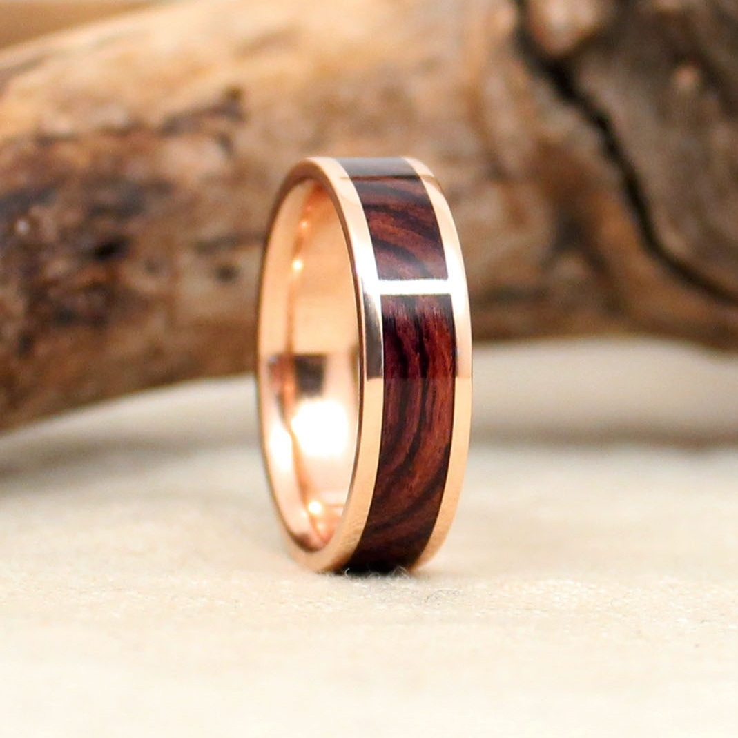 Rose on Rose: Kingwood Rosewood and Rose Gold Ring