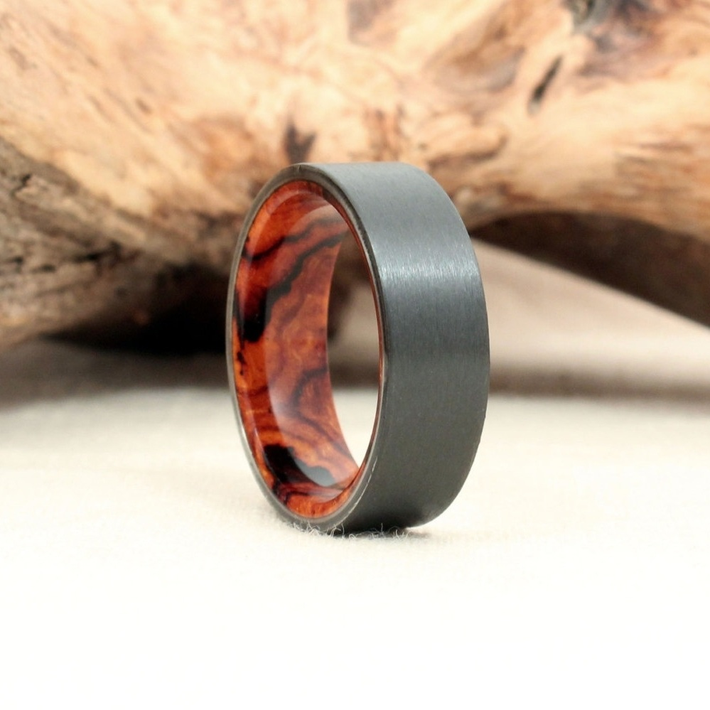 Black Zirconium and Arizona Desert Ironwood Burl Ring