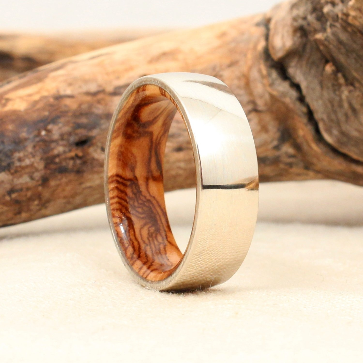 White Gold and Bethlehem Olivewood Ring