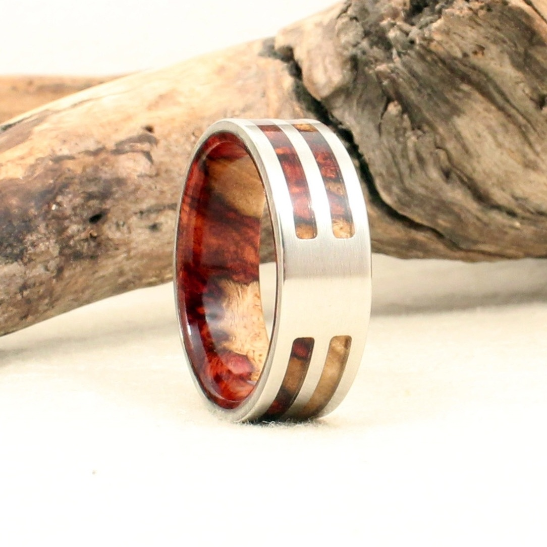 Amboyna Burl and Cobalt Double Channel Ring