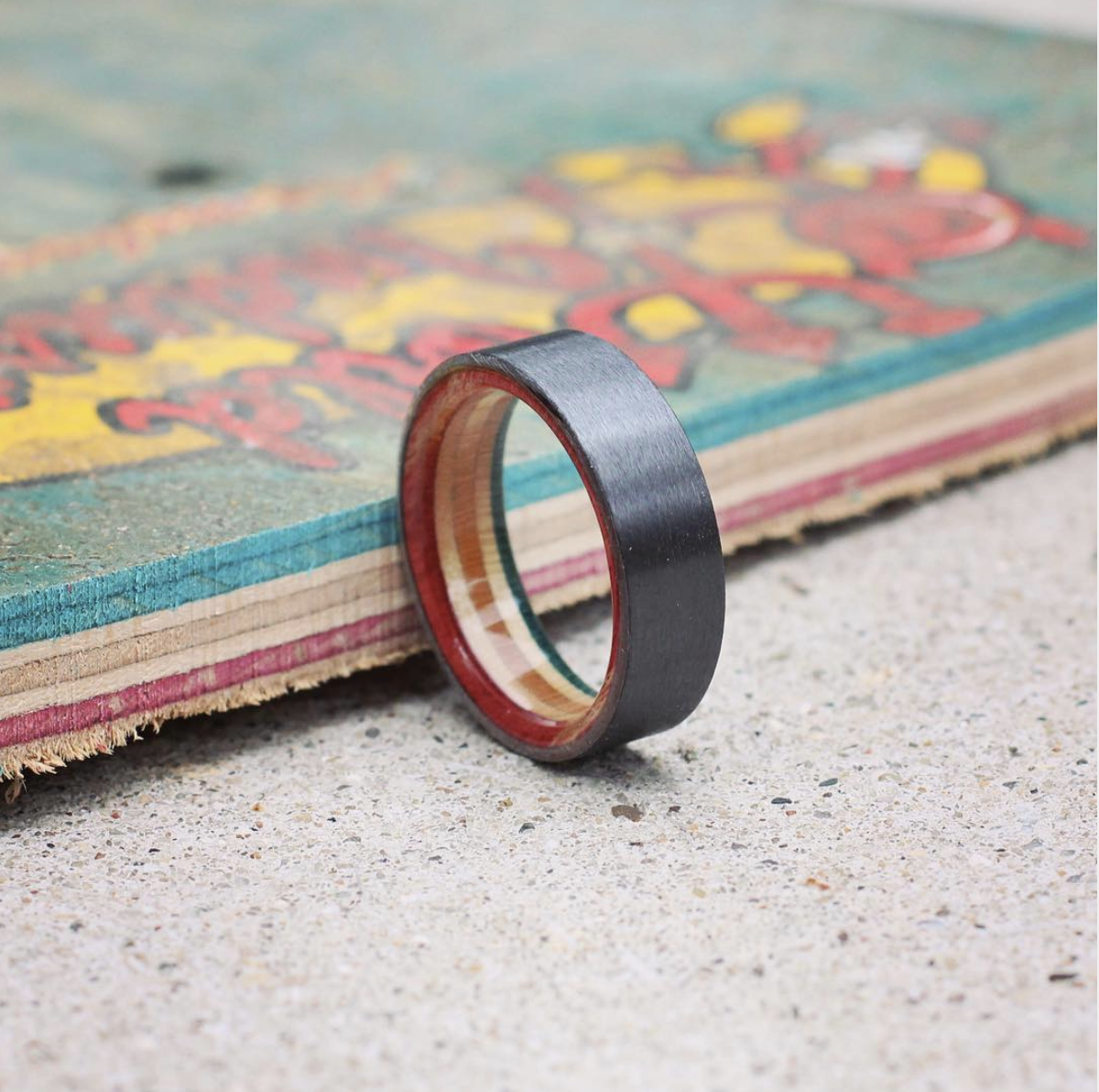Custom Skateboard Deck and Black Zirconium Ring