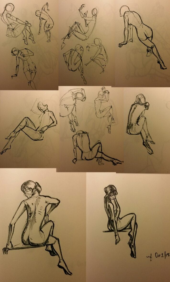 30 minutes of gesture drawing with a black crayola marker (it's ink, right?)