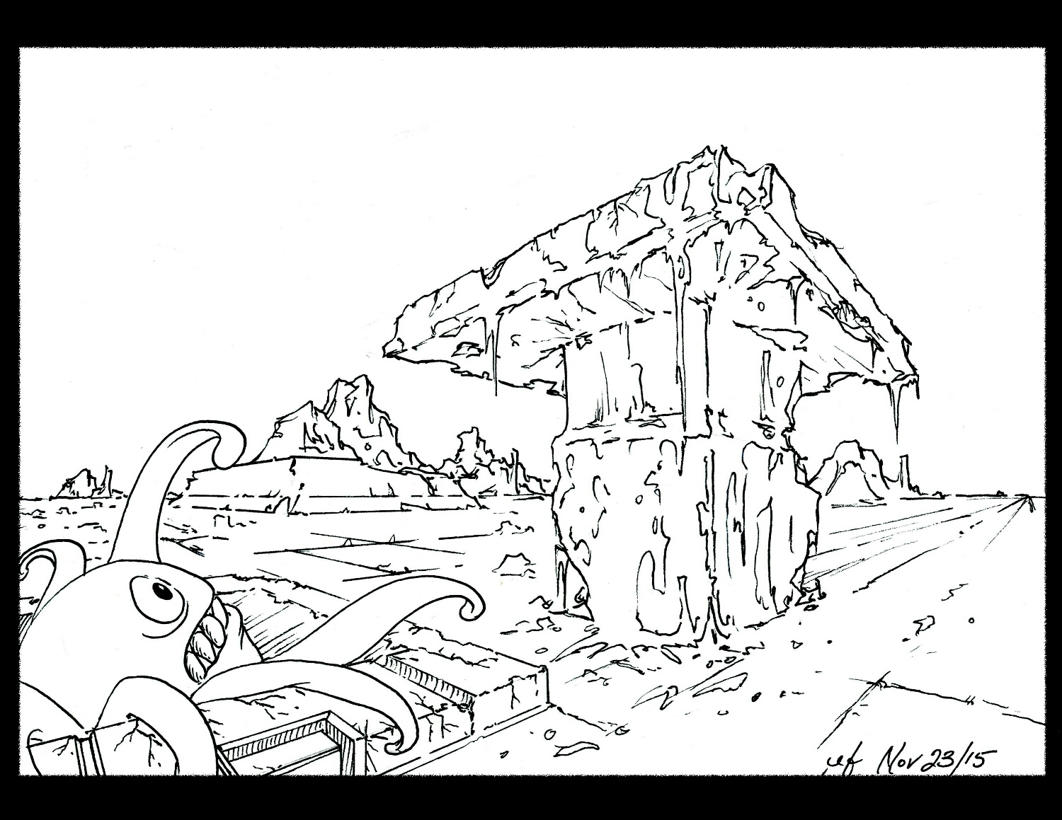Completed ink, scanned and ready for color.