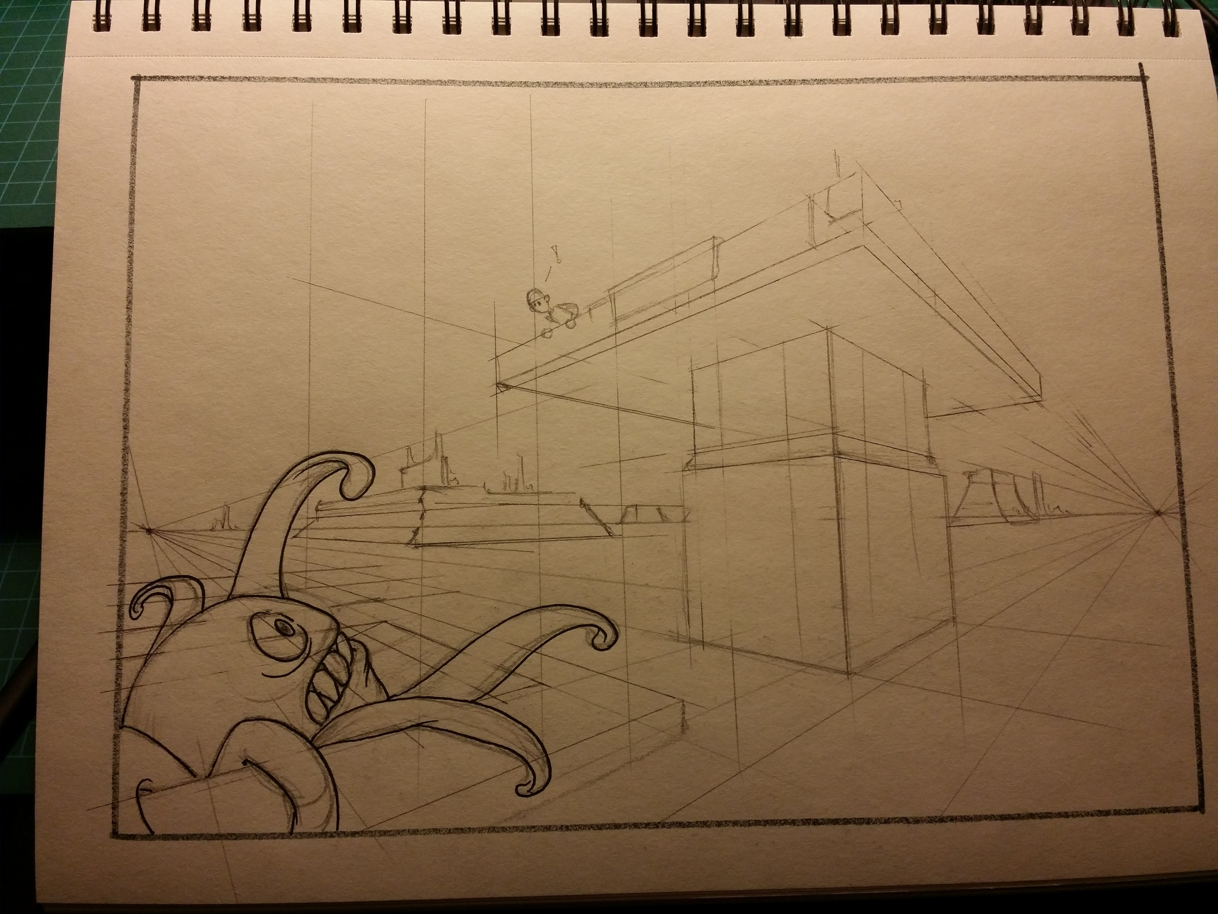 Rough pencil with perspective lines, just starting the inks.
