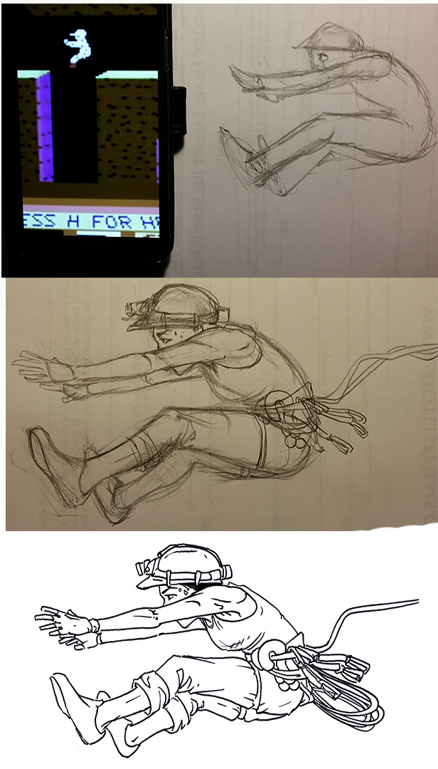 Progress pictures of my design process for the pose.