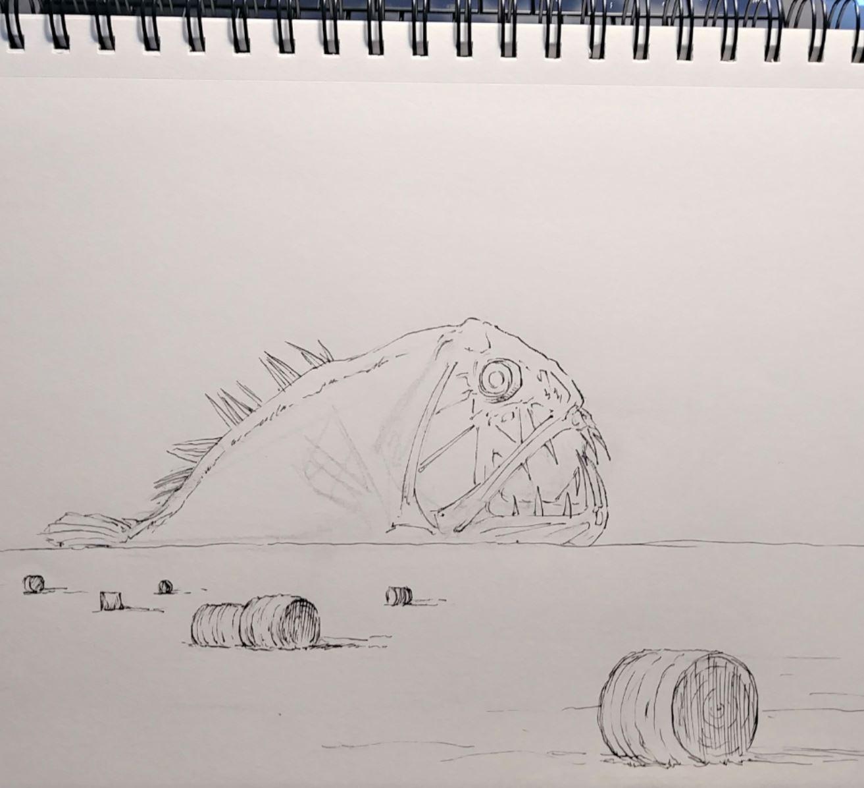 0974 fangtooth over hay bales sketch wip elisa friesen 2018.JPG