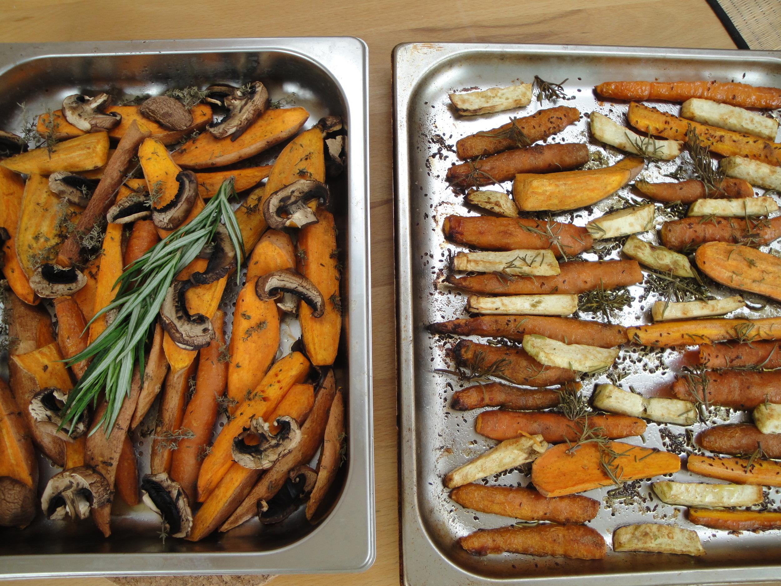 Delicate roasted root veggies in love.