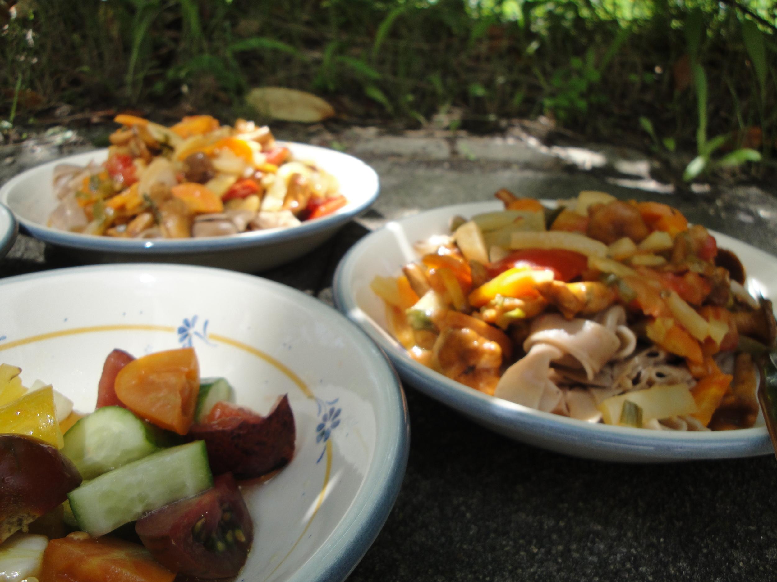 Hildegard von Bingen spelt pasta with summer veggies and those mad tomatoes.
