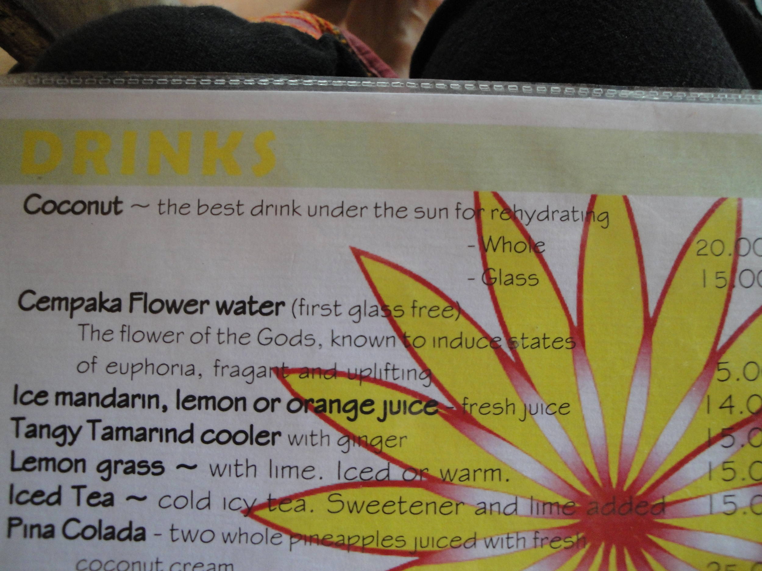 At Yellow Flower they serve you a complementary glass of Cempaka flower water... so I definitely came back!