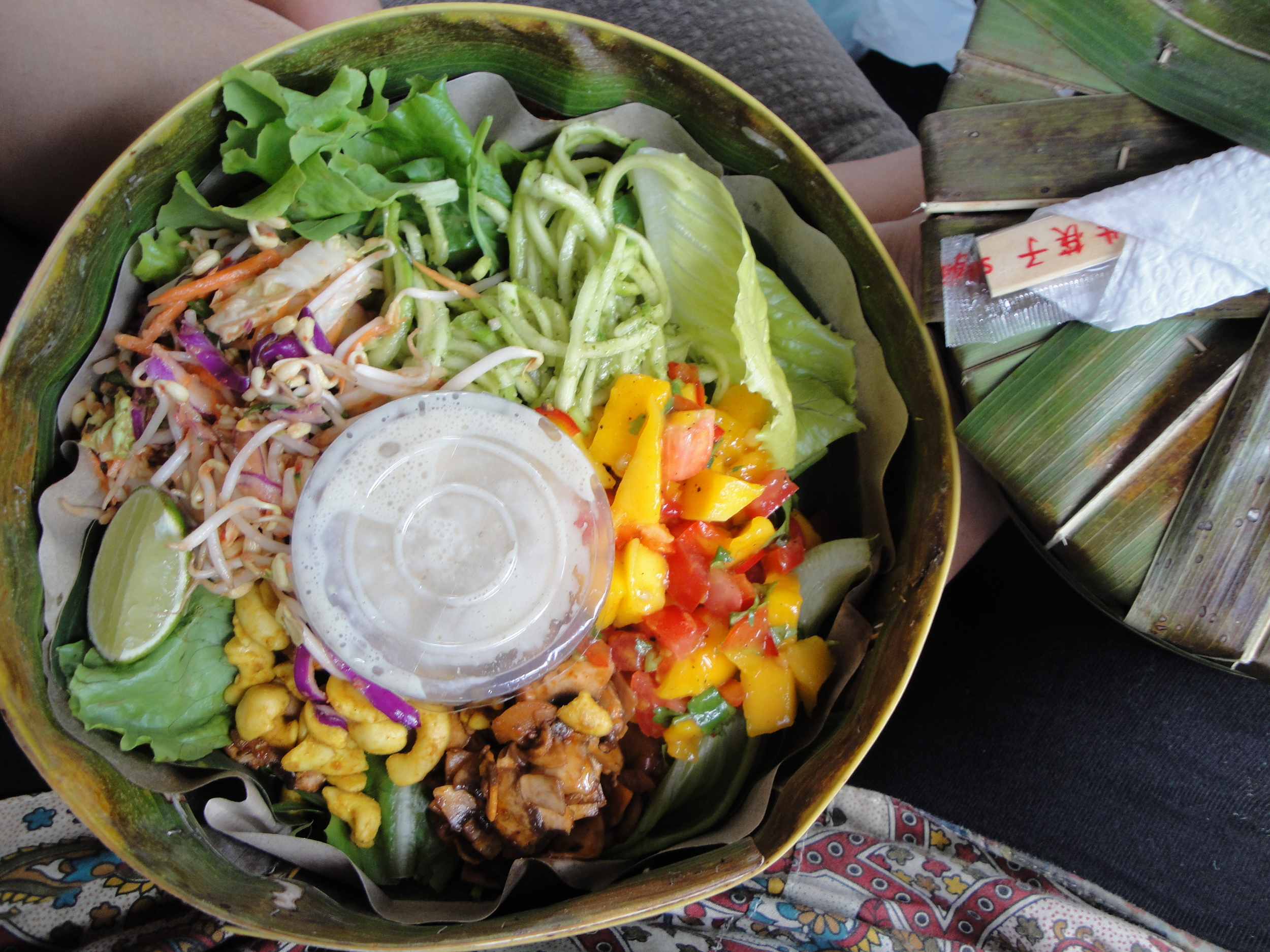 Raw vegan salad for take away in this awesome banana leaf container!