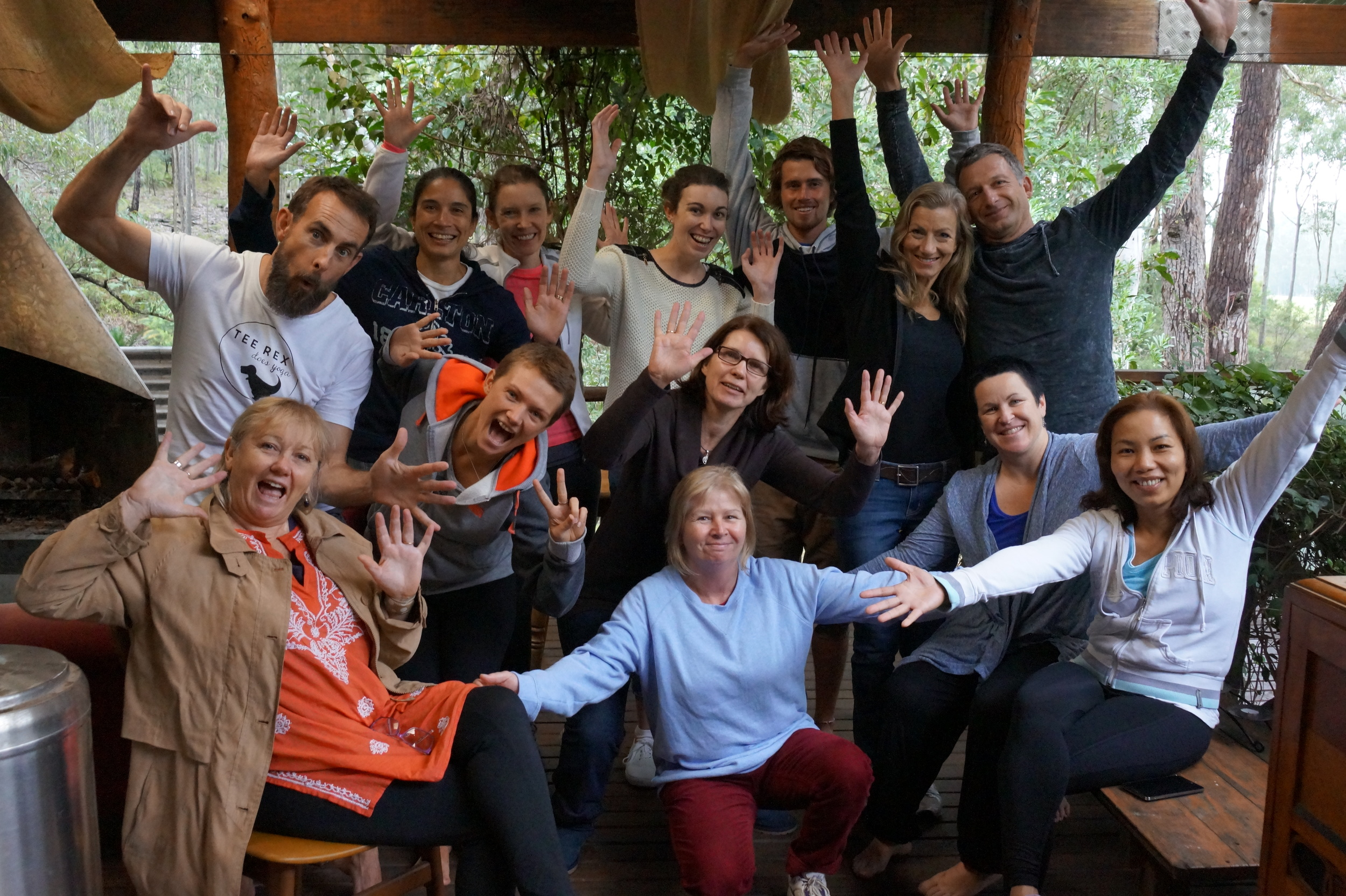 The YOGIS from the Rest and Retreat Bush Retreat with Kirsty and Matt Yoga 24-26 April 2015.
