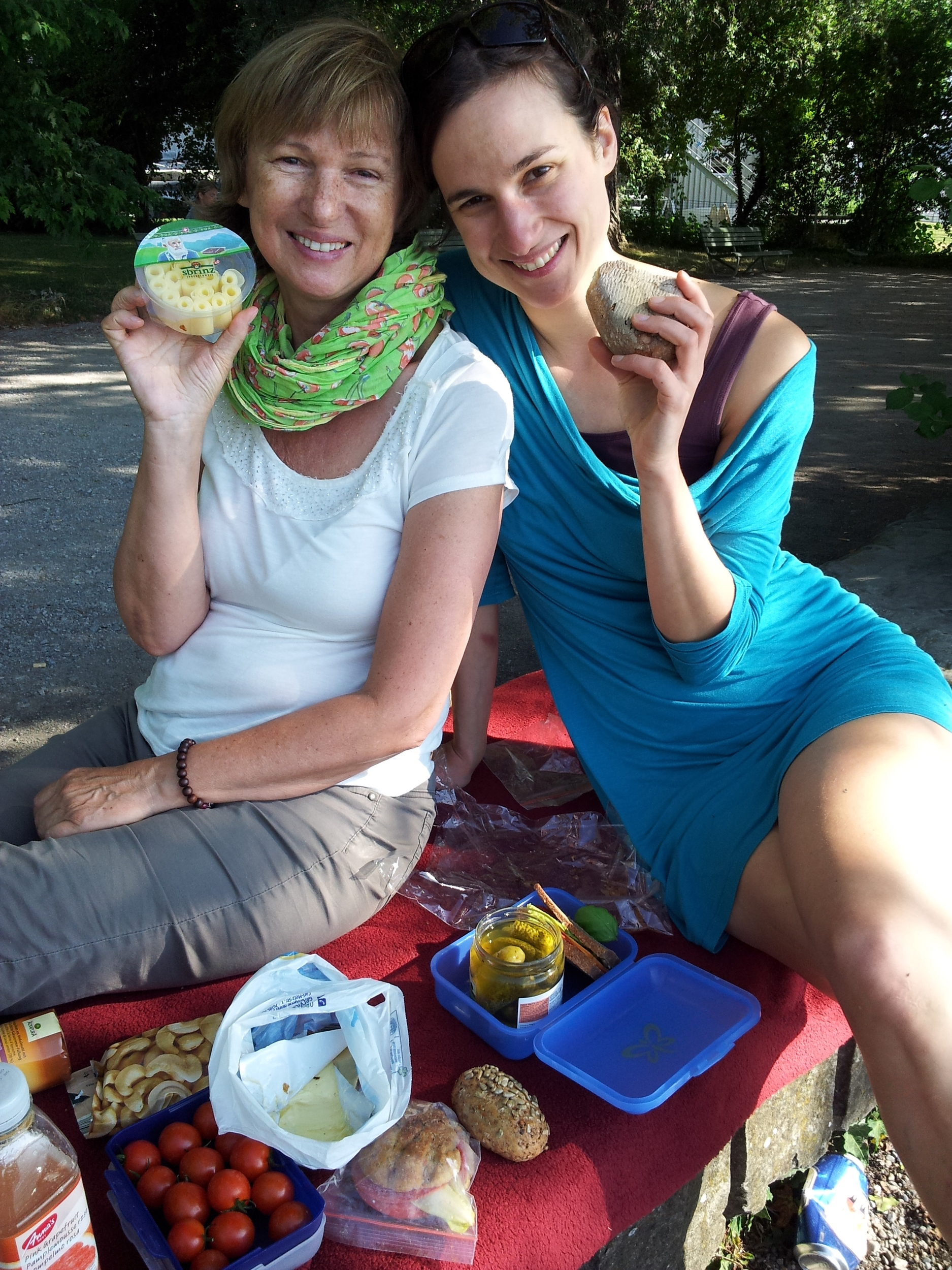 After a 24 hour flight one must picnic and swim in the Zurich lake with mum and sis