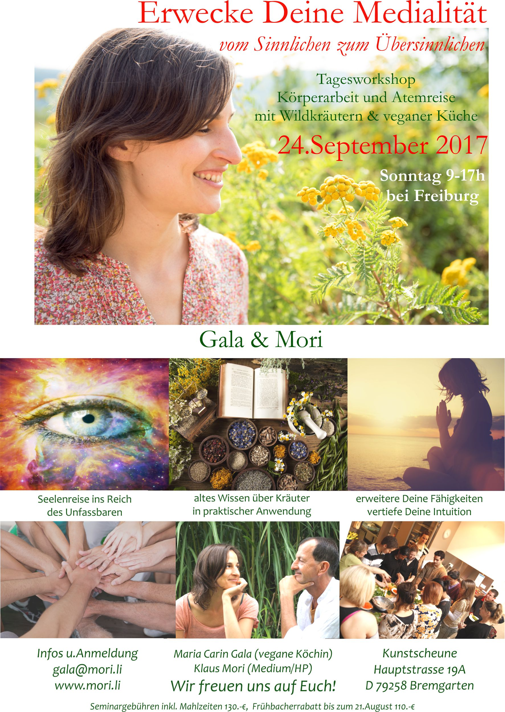 1 Day Workshop - On Sunday the 24th are German elections and I will also be offering a one day workshop with myself Gala's Organic Kitchen and the talented medium Klaus Mori with his many years of mediumistic experience, this time: Awaken Your Mediumship & Vegan Wildherb Cooking! Mori will lead the body and breath work and we have a little help from a Black Forest witch Sophia Sunshine, who creates and sells her own wild foraged cosmetic range called Eat Me Cosmetics or Iss Mich Kosmetik. She will share with me her wisdom of wild herbs that I will incorporate into our vegan menu designed to assist in opening our sensual self to explore the supernatural. We will prepare and enjoy a meal together and a healthy and delicious dessert is always part of the process! Contact me for more information: galasorganickitchen@gmail.com