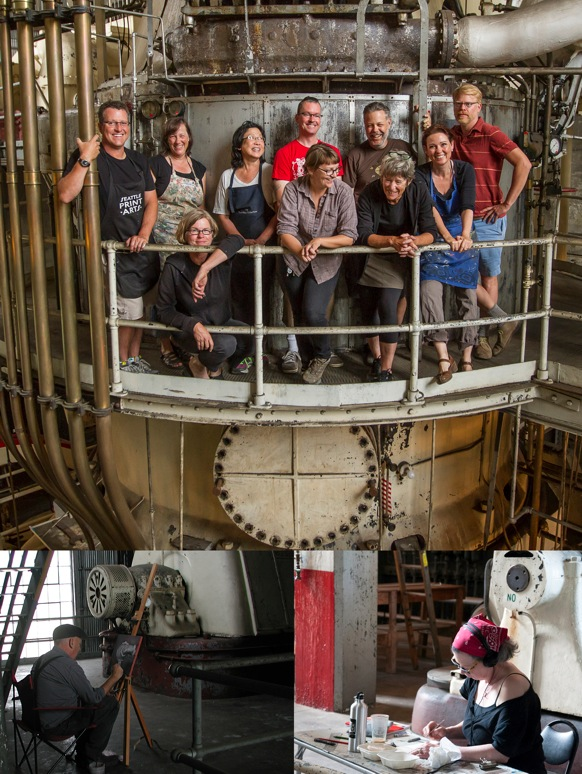 Residency artists in the Georgetown Steam Plant. Top image by Tom Reese.