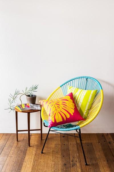 Sarah_Anderson_Photography_Maja_Creative_Chair_Cushion_plant_magazine_wooden_floorboards
