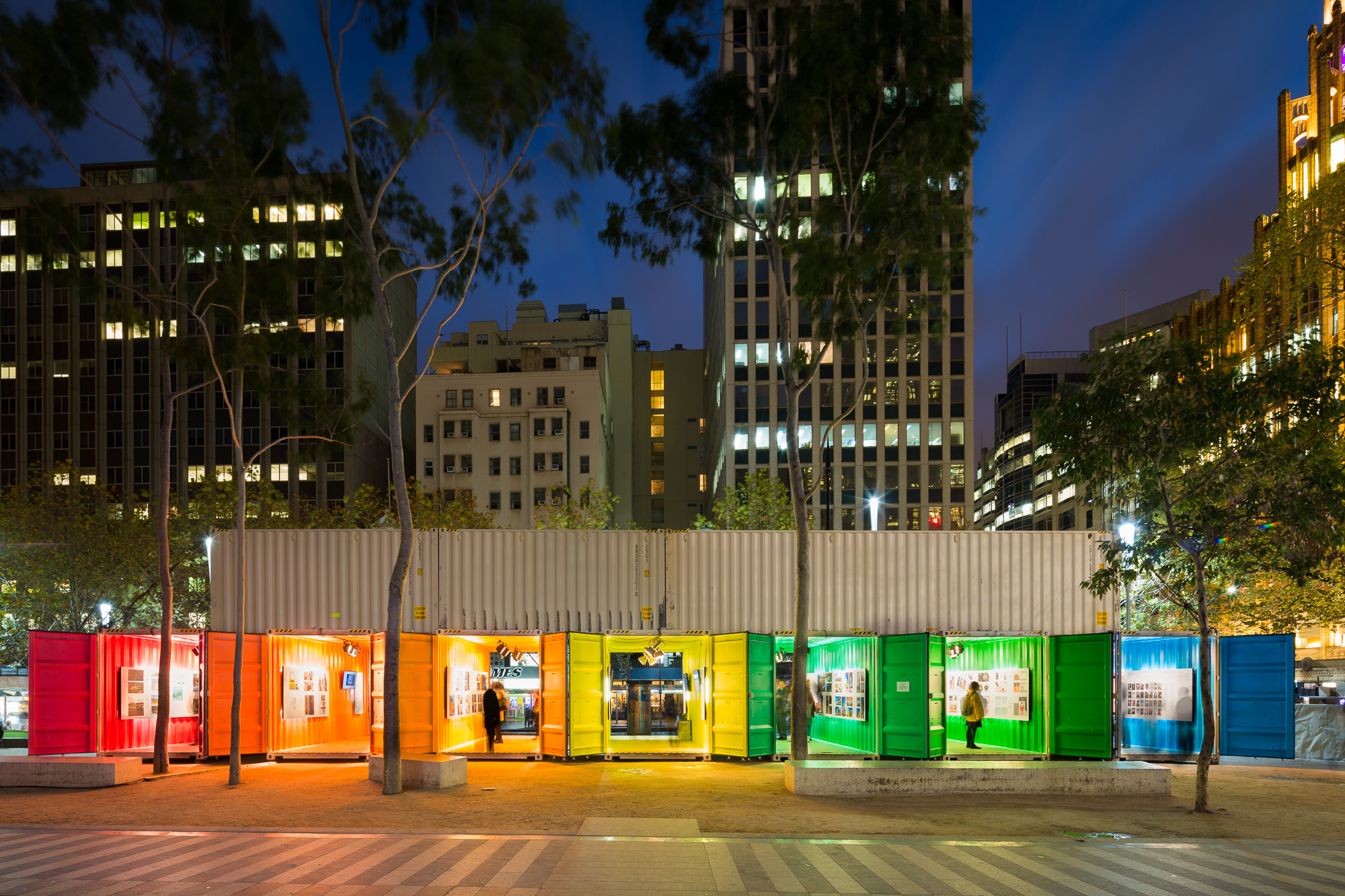 MIDW15_city_square_exhibition_with_coloured_shippling_containers_at_night_photography_by_sarah_anderson